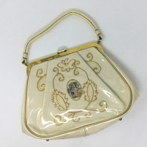 Vintage Cameo Handbag Satchel Cream Gold JR Miami